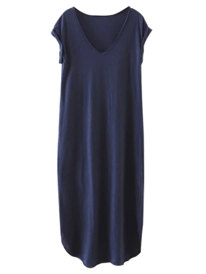 Maxi Vestido Recto En Talla Extra - Azul Purpúreo - Azul Purpúreo M