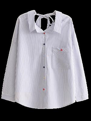 Chemise Attachée à L'arrière à Rayures Et à Poche - Rayure M