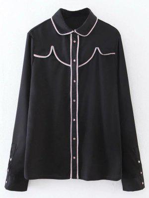 Button Up Peter Pan Collar Shirt - Black L