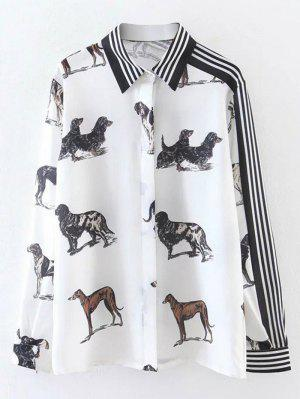 Listrado Animal Print Shirt - Branco M