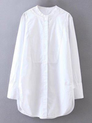Side Slit Mandarin Namorado Collar Shirt - Branco M