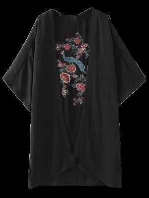 Peacock Flores Bordados Kimono - Preto M