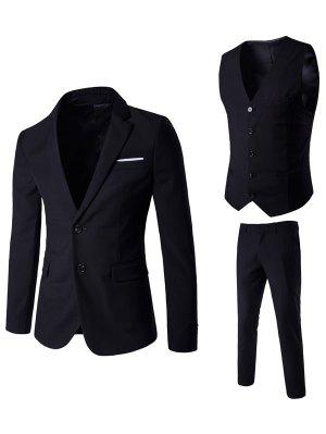 Lapel Edging Single Breasted Waistcoat Three Piece Suit