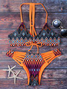 T-Back Geometric Pattern Bikini - Orange L