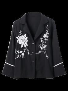 Embroidered Pajama Shirt - Black M