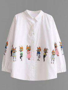Chemise à Boutons Imprimée De Motifs Caricaturés - Blanc L