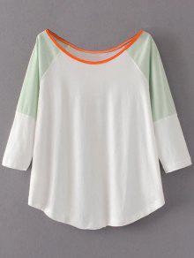 Color Block Cotton Blend T-Shirt - White M