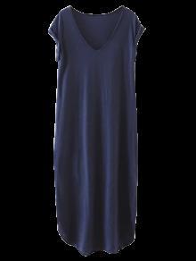 Oversized Shift Maxi Dress - Purplish Blue M