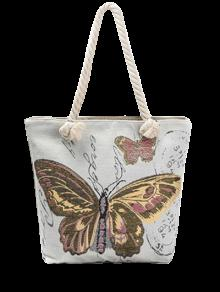 Butterfly Painted Canvas Shoulder Bag - Brown
