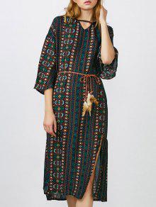فستان بوهيمي ميدي عالية انقسام - L
