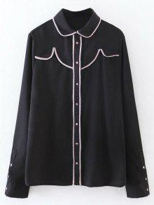 Button Up Peter Pan Collar Shirt - Black L