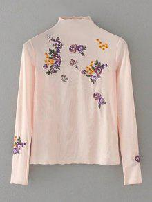 Floral Embroidered Mesh Sheer Tee - Pink S