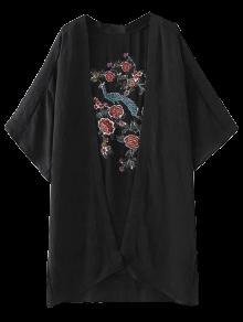 Peacock Flowers Embroidery Kimono - Black M