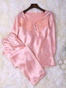 Faux Silk Lace Top And Pants Sleepwear - Pink L