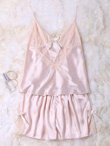 Lace Insert Tank Top And Slik Shorts - Champagne M