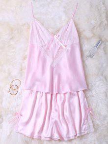 Lace Insert Tank Top And Slik Shorts - Pink M