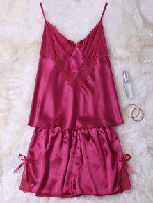 Lace Insert Tank Top And Slik Shorts - Red M