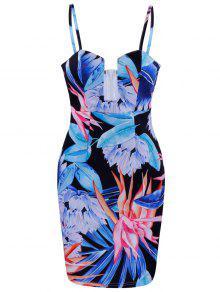 فستان طباعة الأزهار ضيق مصغر - أزرق Xl