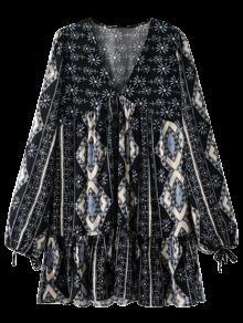 الفستان المبهرج مع الكم الطويل - أسود S