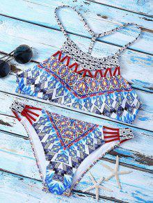 Traje De Bikini Con Estampado Con Cuello Alto Con Cordón En T En Espalda - Multicolor L