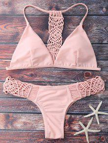 El Hacer Punto De Tiras Del Bikini Set - Rosa L