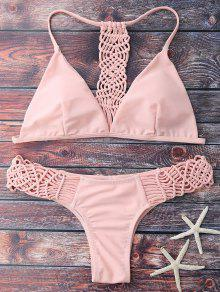 Knitting Strappy Bikini Set - Pink S