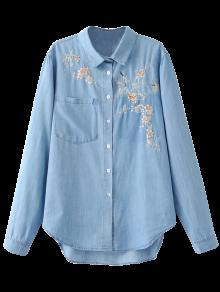 Embroidered High-Low Denim Shirt - Light Blue S
