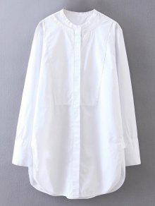Side Slit Mandarin Collar Boyfriend Shirt - White M