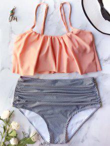 Traje De Bikini Con Cintura Alta Con Volantes - Naranja Rosa L