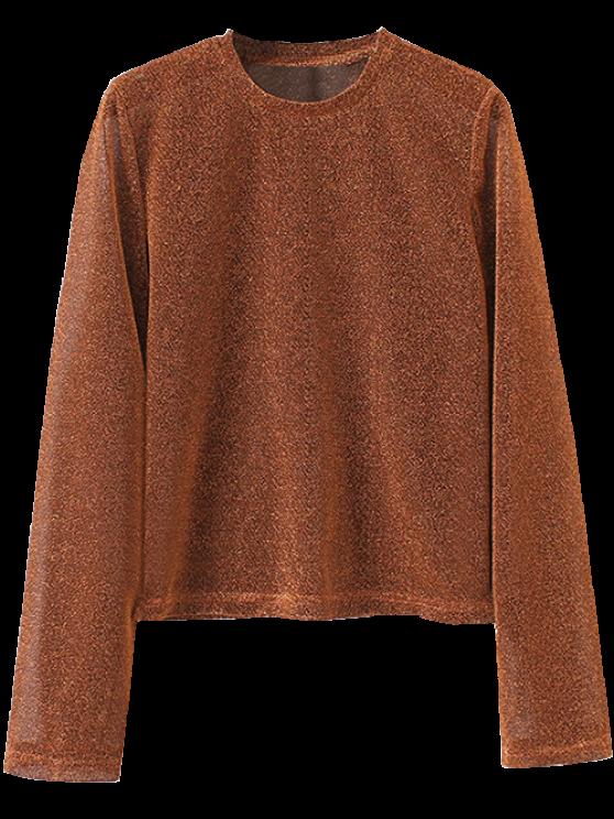 women's Jewel Neck Long Sleeve Tee - BROWN S