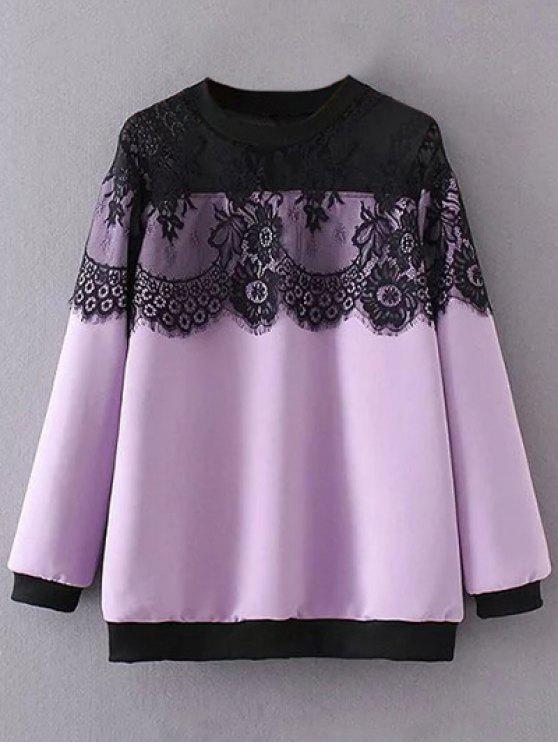 Sweat-shirt avec empiècements en dentelle - Violet Clair 2XL