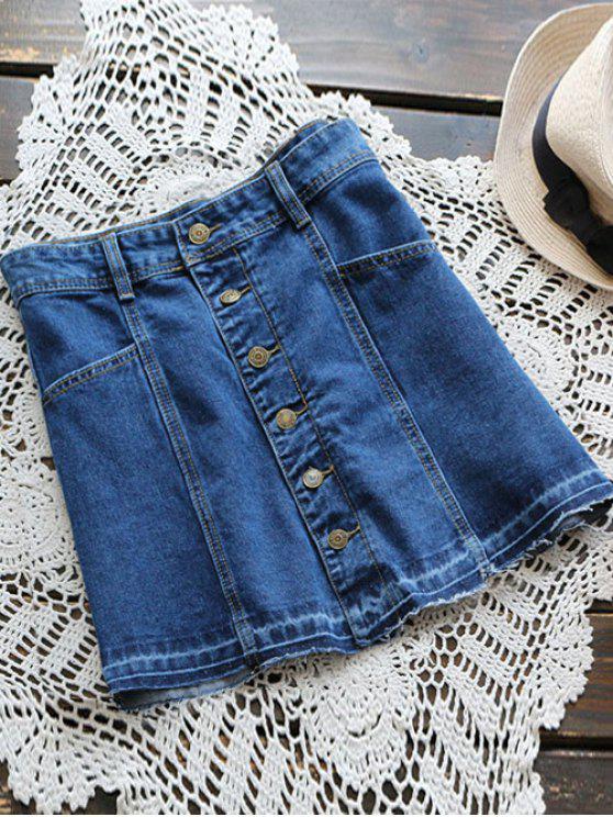 new Button Up Denim Mini Skirt - DENIM BLUE S