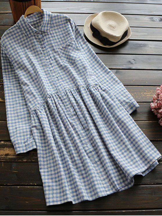 Button Up Plaid Smock Shirt Dress - Righe Una Taglia