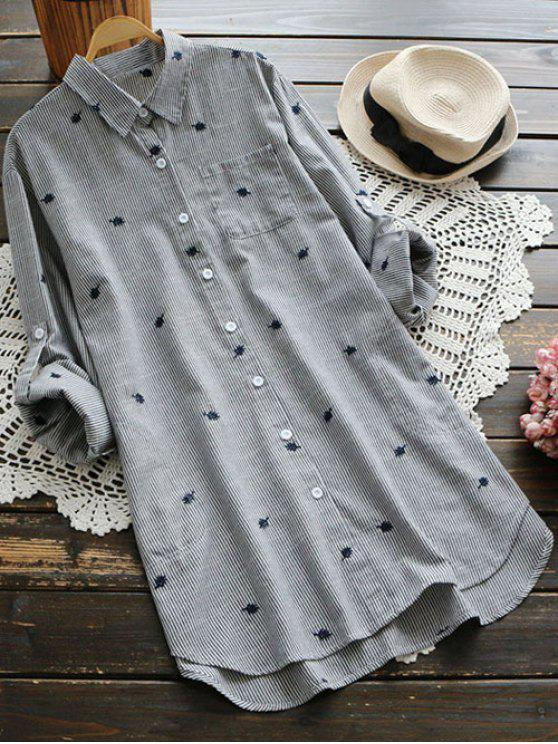 lady Leaf Embroidered Striped Pocket Tunic Shirt - GRAY ONE SIZE