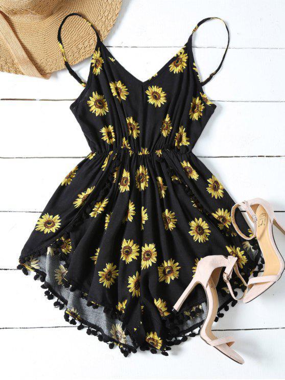fancy Sunflower Print Cami Beach Romper - BLACK L