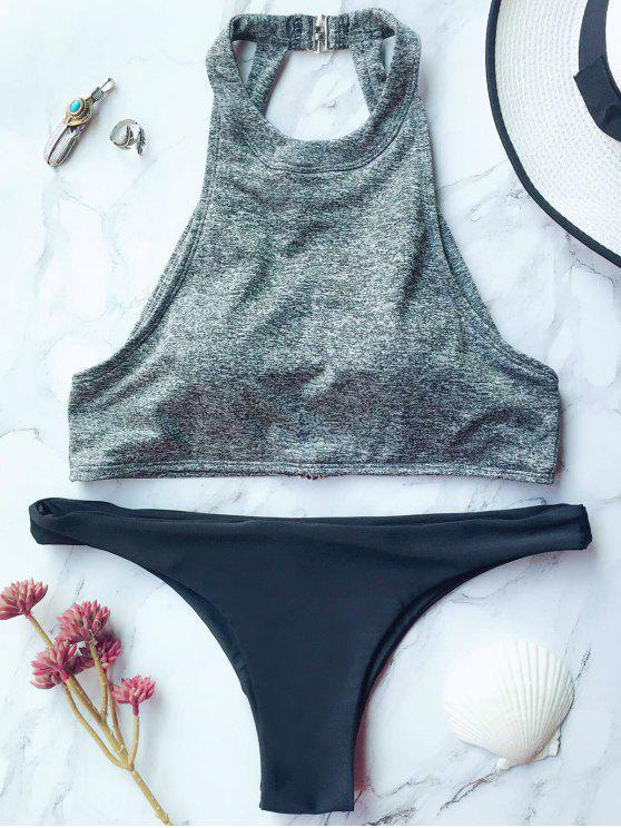 latest High Neck Padded Thong Bikini - GRAY M