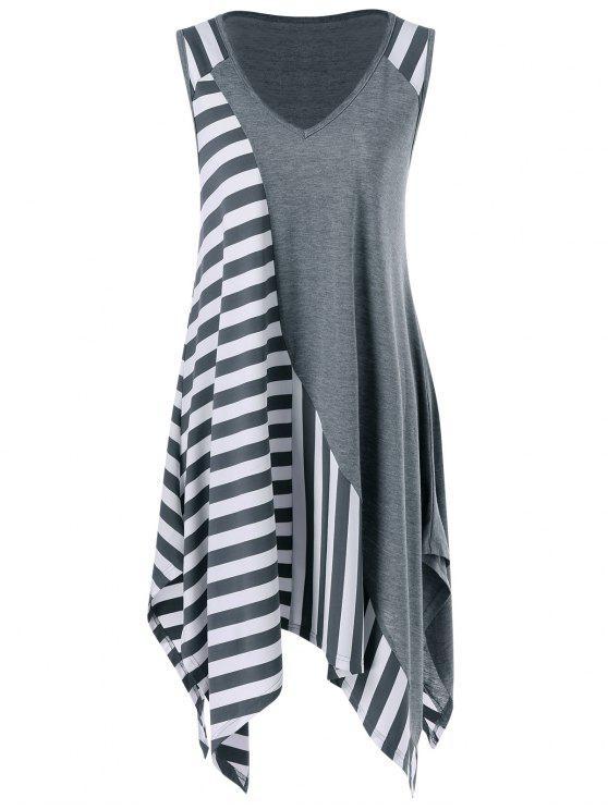 T-Shirt Mouchoir Long Rayé sans Manches - Gris et Blanc 2XL
