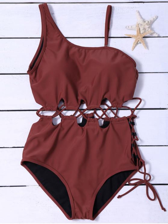 ملابس السباحة المحبوك ولا متناظرة مع الرباط - عنابي اللون M