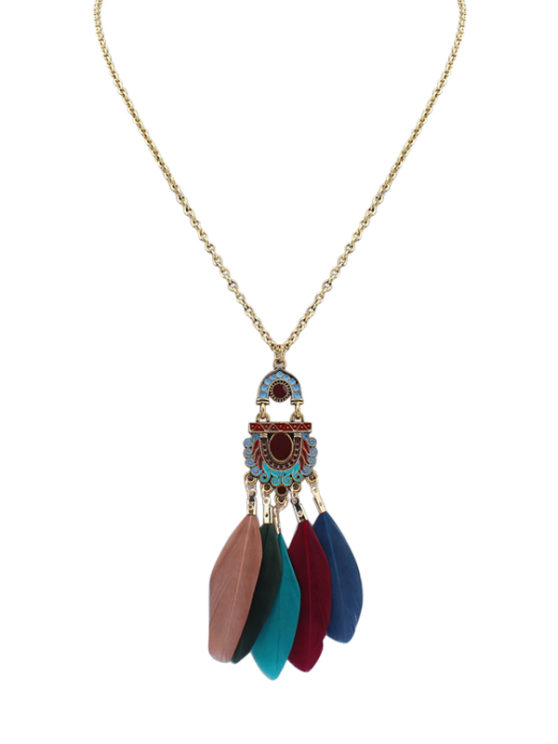 unique Feather Vintage Pendant Necklace - COLORMIX