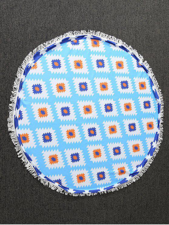 Serviette ronde de plage imprimée de motifs géométriques - Bleu TAILLE MOYENNE
