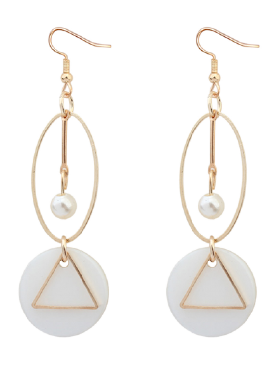 Pendientes de gota de perla artificial geométrica - Dorado