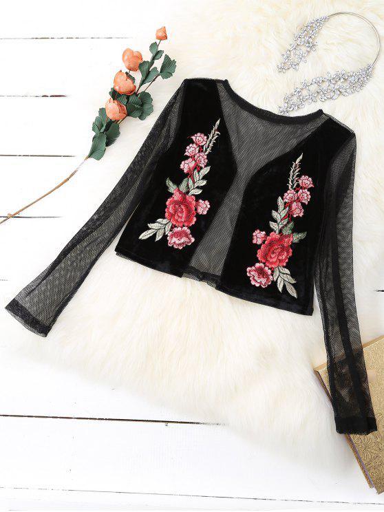 affordable Mesh Floral Embroidered Crop Top - BLACK M