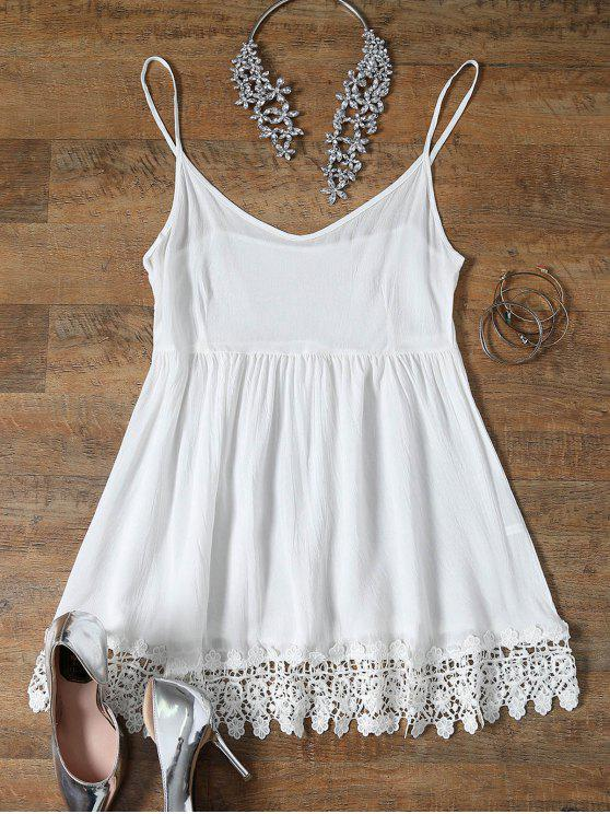 ladies Spaghetti Strap Low Cut Lace Spliced Dress - WHITE M