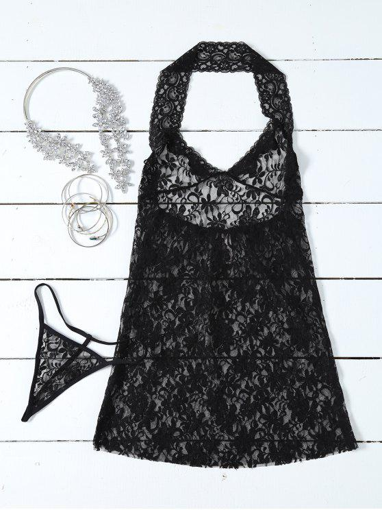 outfits See-Through Lace Halterneck Babydoll - BLACK ONE SIZE