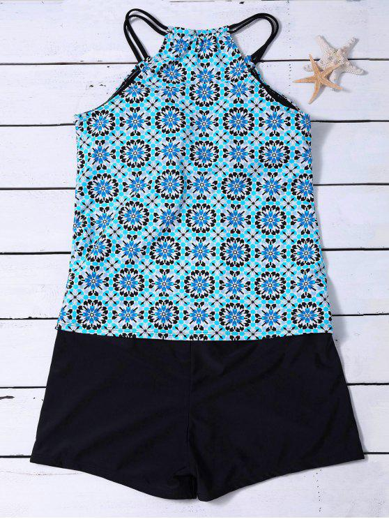 buy Padded Printed Tankini with Boxers - LIGHT BLUE L