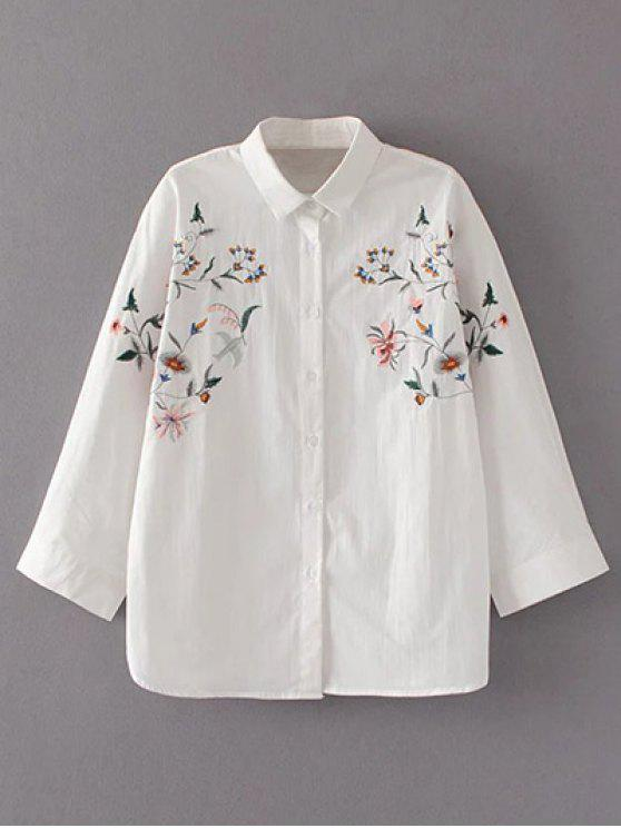 women's Floral Embroidered Loose Collared Shirt - WHITE L