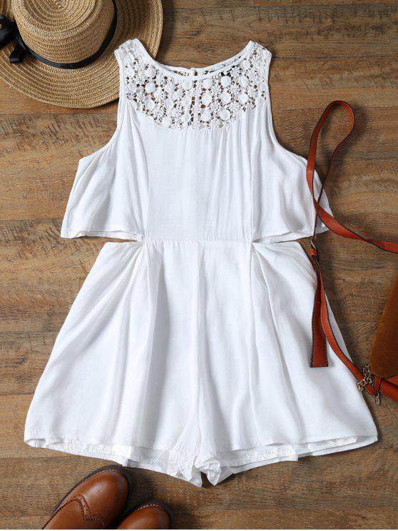 chic Crochet Yoke Waist Cutout Beach Romper - WHITE S