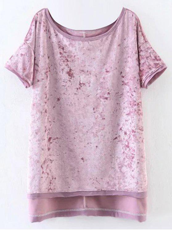 Hendidura de alta terciopelo de la camiseta baja - Rosa M
