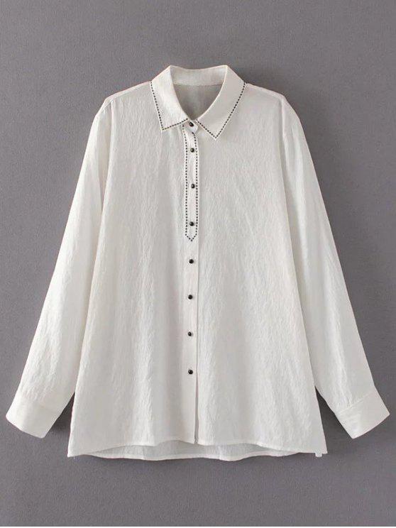 Bordado un solo pecho de la camisa de lino - Blanco L