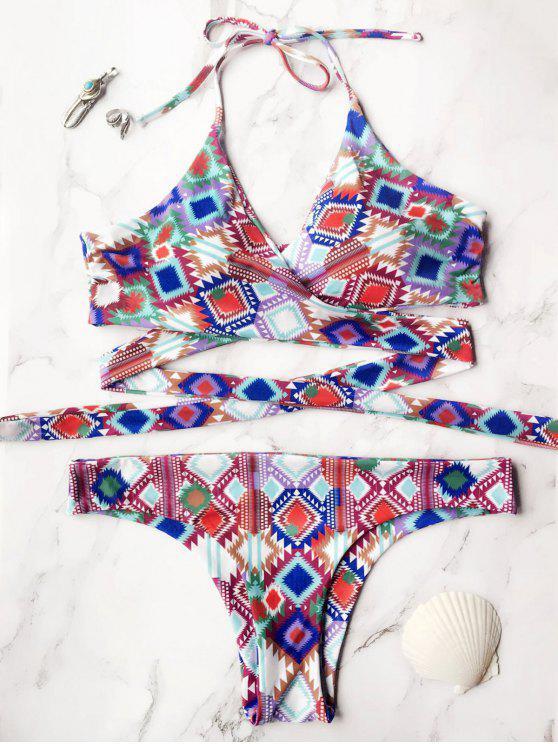 Impreso Wrap frontal del bikini - Multicolor L
